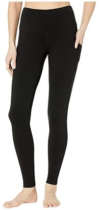 Jockey Active Cotton/Spandex Basics Full Length Leggings w/ Side Pocket (Deep Black) Women's Casual Pants