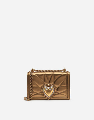 Dolce & Gabbana Medium Devotion Bag In Quilted Nappa Mordore