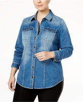 INC International Concepts Plus Size Denim Shirt, Only at Macy's