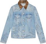 Gucci Scribbled writing print denim jacket