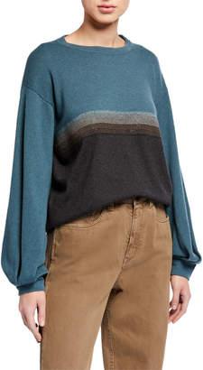 Brunello Cucinelli Colorblock Monili Cashmere Pullover
