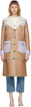 Stand Studio Taupe and Purple Faux-Leather Adele Coat