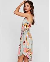 Express floral surplice wrap midi dress