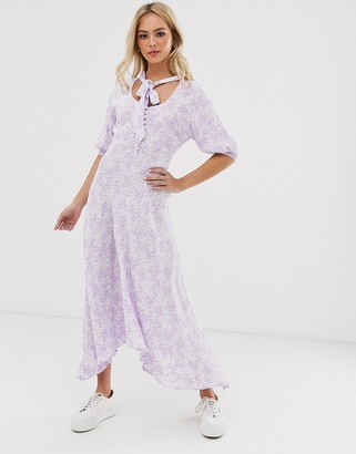 Ghost hanky hem floral midi dress with button front and tie neck