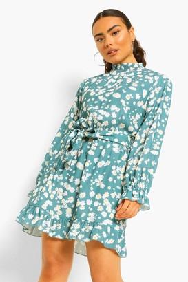 boohoo Shirred Neck Tie Detail Skater Dress