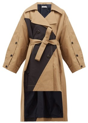 Palmer Harding Palmer//harding - Vana Goemetric-panel Cotton-canvas Trench Coat - Black Beige