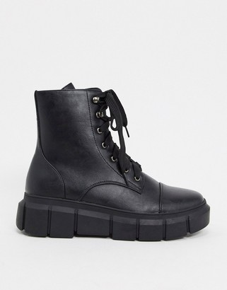 Truffle Collection chunky lace up ankle boots in black
