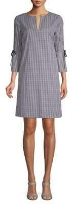 Lafayette 148 New York Deandra Gingham Split-Neck Dress