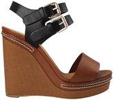 Chloé Canvas Wedge Leather Sandal