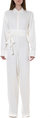 DSQUARED2 White Viscose Flared Jumpsuit