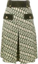 Gucci horsebit print knee length shorts - women - Leather/Polyester/Viscose/Wool - 40