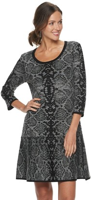Nina Leonard Women's Snakeskin-Print Sweater Dress