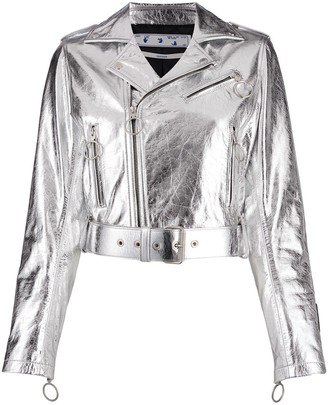 Off-White Metallic Leather Biker Jacket