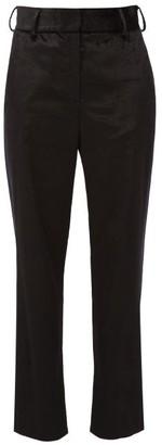 Sies Marjan Sonya Satin-stripe Velvet Trousers - Womens - Black