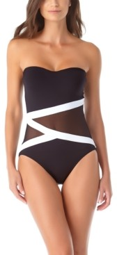 Anne Cole Colorblocked Mesh Strapless One-Piece Swimsuit Women's Swimsuit