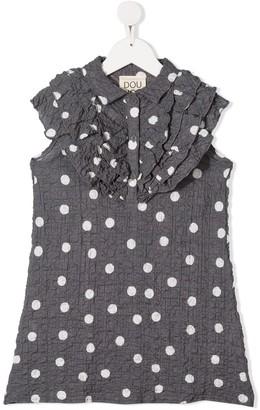 Douuod Kids Crinkle Effect Polka Dot Print Dress