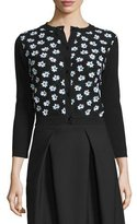 Carolina Herrera 3/4-Sleeve Floral-Embellished Cardigan, Black/Green/White