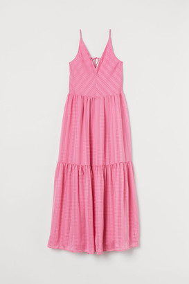 H&M V-neck Maxi Dress - Pink