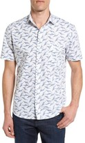 Maker & Company Men's Tailored Fit Feather Print Sport Shirt