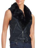 Saks Fifth Avenue RED Faux Fur Collar Vest