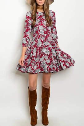 Esley Burgundy Floral Dress