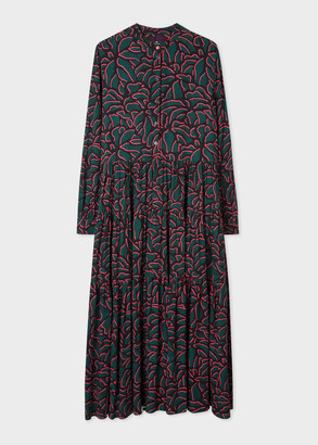 Women's Dark Green 'Shadow Petals' Print Shirt Dress