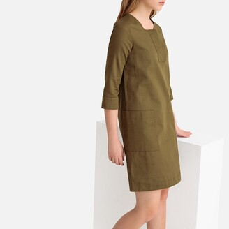 Mini Shift Dress with 3/4 Length Sleeves and Pockets