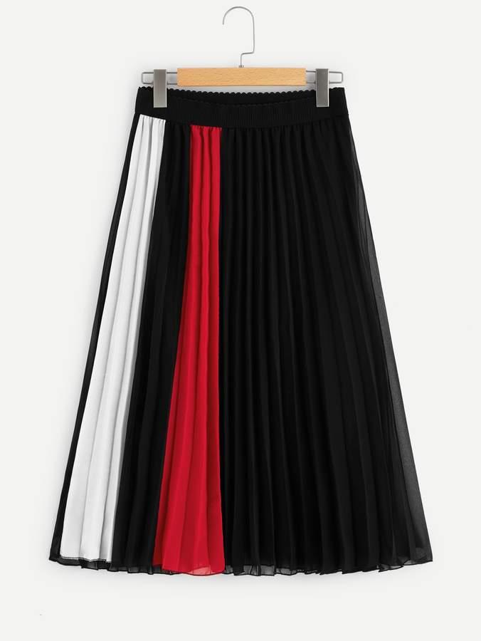 c7e4443ca Pleated Skirt Color Block - ShopStyle