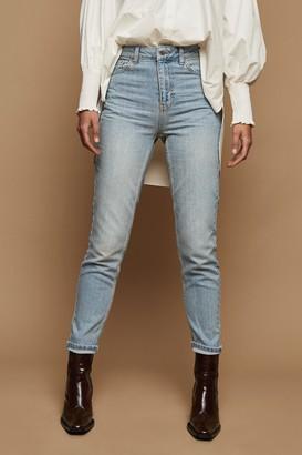 Topshop Womens Bleach Stone Premium Mom Tapered Jeans - Bleach Stone