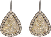 Roberto Marroni Women's Yellow Diamond, Brown Diamond & Oxidized Gold Teardrop Earrings