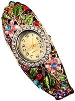 ABC Women's Watch, Women's Crystal Flower Bangle Watch Bracelet Quartz Wrist Watch