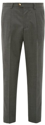Brunello Cucinelli Single-pleated Wool Leisure-fit Trousers - Mens - Charcoal