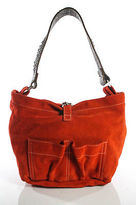 Tylie Malibu Orange Suede Leather Trim Embellished Small Round Shoulder Bag