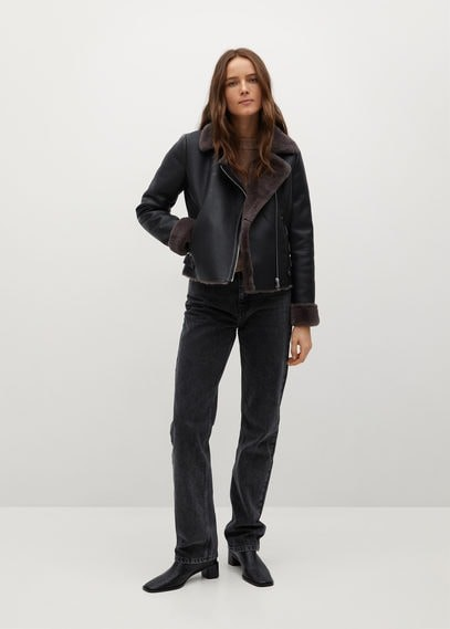 Thumbnail for your product : MANGO Faux fur biker jacket