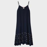 Paul Smith Women's Navy Silk Slip-Dress With Embellishments