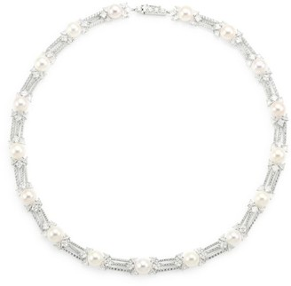 Adriana Orsini Rhodium-Plated Sterling Silver, 8-8.5mm Pearl & Cubic Zirconia Collar Necklace