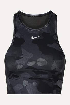 Nike Everything Mesh-paneled Camouflage-print Dri-fit Sports Bra - Black