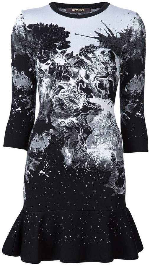 Roberto Cavalli knitted printed mini dress