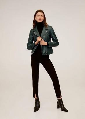 MANGO Lapelled leather biker jacket dark green - S - Women