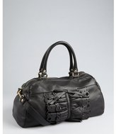 RED Valentino black leather bow and lace top handle bag