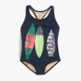 J.Crew Girls' racerback one-piece swimsuit with surfboard trio