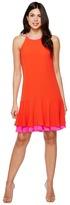 Vince Camuto Sleeveless Halter Color Blocked Ruffle Hem Dress Women's Dress