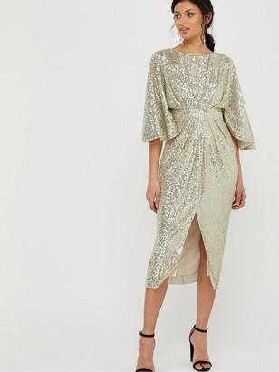 Monsoon Sophia Sequin Cape Sleeve Midi Dress - Gold