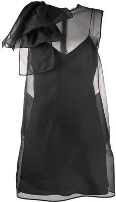 MSGM Layered Ruffle Detail Silk Dress