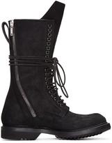 Rick Owens Black DB Zip Lace-Up Boots