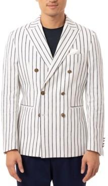 Tallia Men's Slim-Fit Navy Blue/White Vertical Stripe Double-Breasted Sport Coat