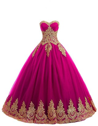Stillluxury Strapless Wedding Dress Gold Lace Appliqued Tulle Ball Bridal Gown Floor Length Fuchsia Size 8