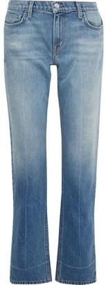 Current/Elliott The Poker Faded Mid-rise Straight-leg Jeans