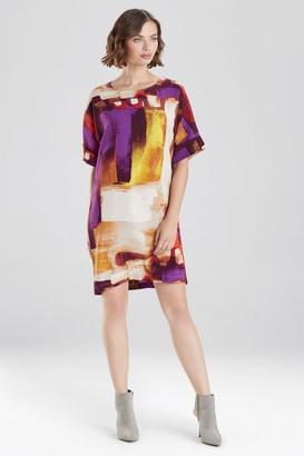 Natori Brushstroke Crepe T-Shirt Dress