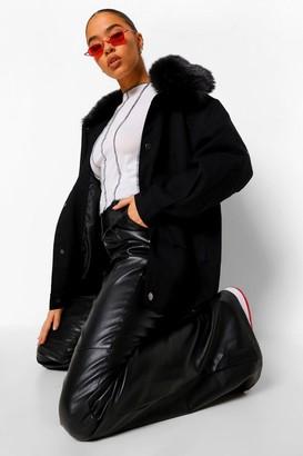 boohoo Faux Fur Collar Parka Coat